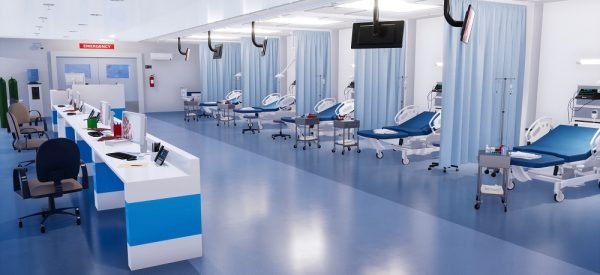Interior of emergency room in modern clinic with row of empty hospital beds, nurses station and various medical equipment. 3D illustration on health care theme from my own 3D rendering file.